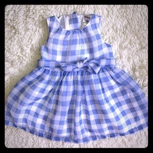 Blue and white gingham baby girl dress